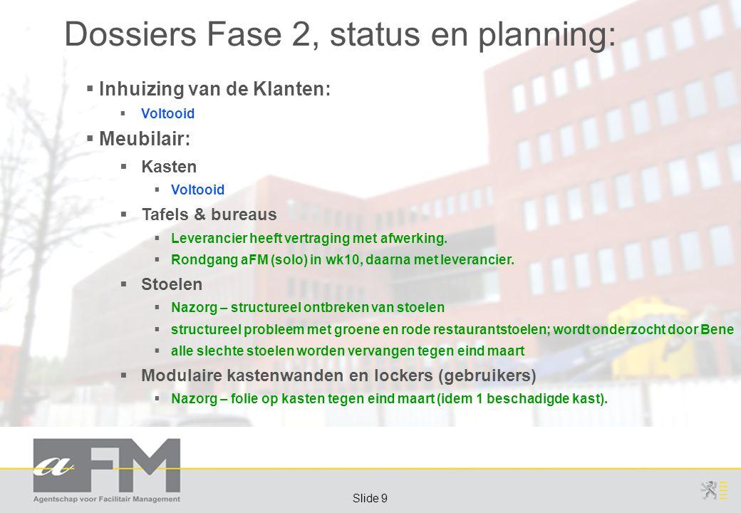 Page 10 Slide 10 Dossiers Fase 2, status en planning:  Meubilair:  Rolarchief  Uitvoering niet voor iedereen tijdig klaar (planning): tijdelijk rolcontainers gebruiken  Zie planning zoals eerder, afzonderlijk doorgestuurd: deadline: 23-mrt-2012  Trolleys  Dossier vertraagd, raamcontract afsluiten  RC in wording, gepubliceerd, sluiting gepland tegen eind mrt.