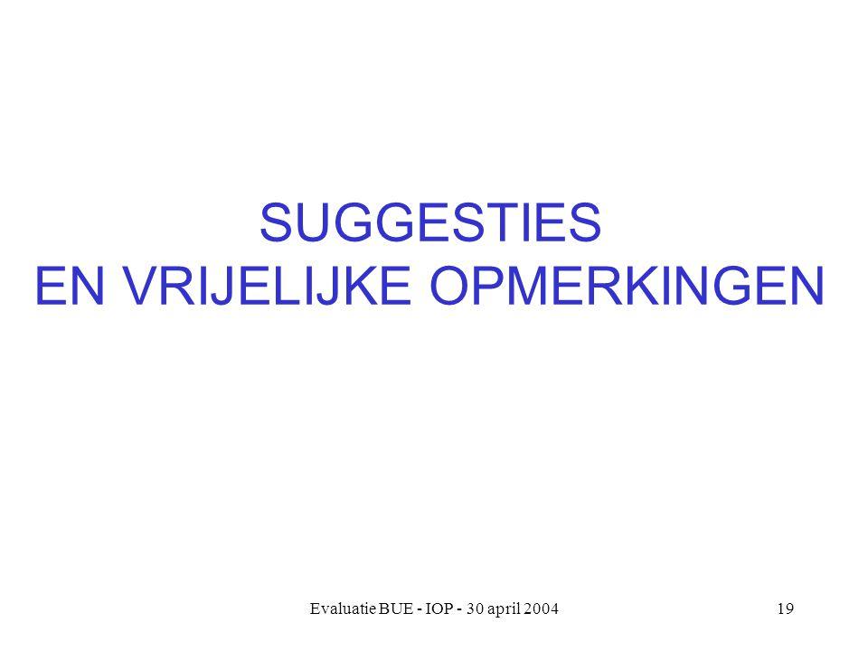 Evaluatie BUE - IOP - 30 april 200419 SUGGESTIES EN VRIJELIJKE OPMERKINGEN