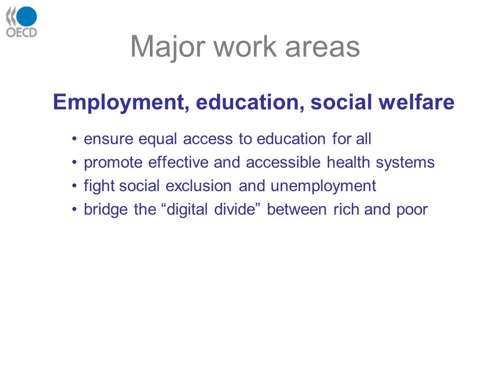 Major work areas Employment, education, social welfare ensure equal access to education for all promote effective and accessible health systems fight social exclusion and unemployment bridge the digital divide between rich and poor