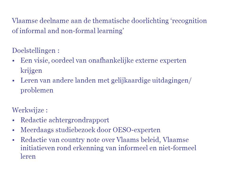 Vlaamse deelname aan de thematische doorlichting 'recognition of informal and non-formal learning' Doelstellingen : Een visie, oordeel van onafhankeli