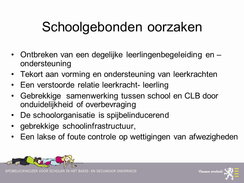 Schoolgebonden oorzaken Ontbreken van een degelijke leerlingenbegeleiding en – ondersteuning Tekort aan vorming en ondersteuning van leerkrachten Een