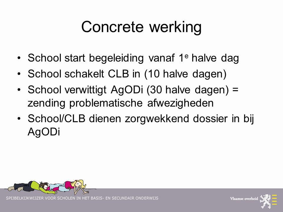 Concrete werking School start begeleiding vanaf 1 e halve dag School schakelt CLB in (10 halve dagen) School verwittigt AgODi (30 halve dagen) = zendi