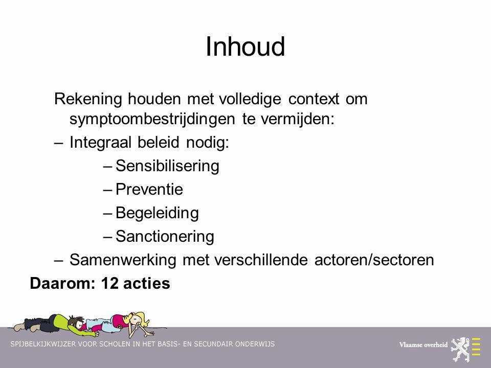 Inhoud Rekening houden met volledige context om symptoombestrijdingen te vermijden: –Integraal beleid nodig: –Sensibilisering –Preventie –Begeleiding