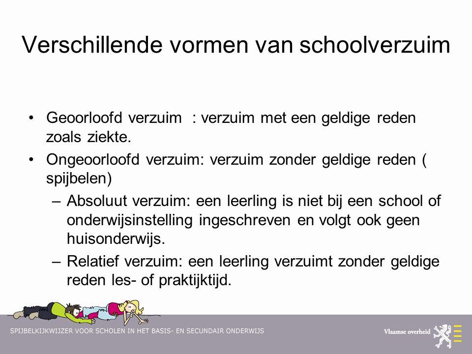 Verschillende vormen van schoolverzuim Geoorloofd verzuim : verzuim met een geldige reden zoals ziekte. Ongeoorloofd verzuim: verzuim zonder geldige r