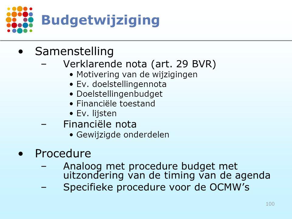 100 Budgetwijziging Samenstelling –Verklarende nota (art. 29 BVR) Motivering van de wijzigingen Ev. doelstellingennota Doelstellingenbudget Financiële