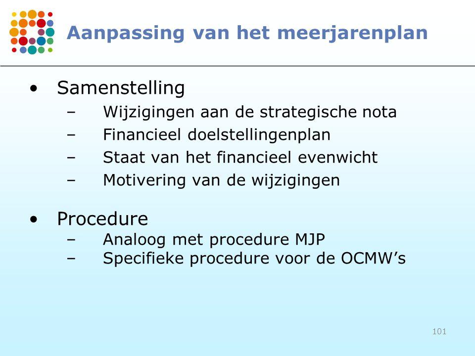 101 Aanpassing van het meerjarenplan Samenstelling –Wijzigingen aan de strategische nota –Financieel doelstellingenplan –Staat van het financieel evenwicht –Motivering van de wijzigingen Procedure –Analoog met procedure MJP –Specifieke procedure voor de OCMW's