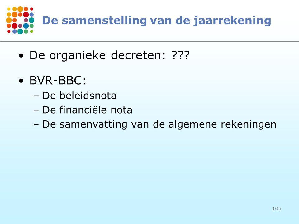 105 De samenstelling van de jaarrekening De organieke decreten: ??? BVR-BBC: –De beleidsnota –De financiële nota –De samenvatting van de algemene reke