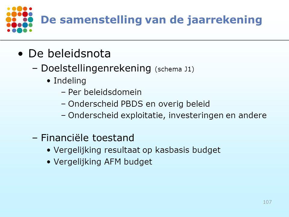 107 De samenstelling van de jaarrekening De beleidsnota –Doelstellingenrekening (schema J1) Indeling –Per beleidsdomein –Onderscheid PBDS en overig beleid –Onderscheid exploitatie, investeringen en andere –Financiële toestand Vergelijking resultaat op kasbasis budget Vergelijking AFM budget