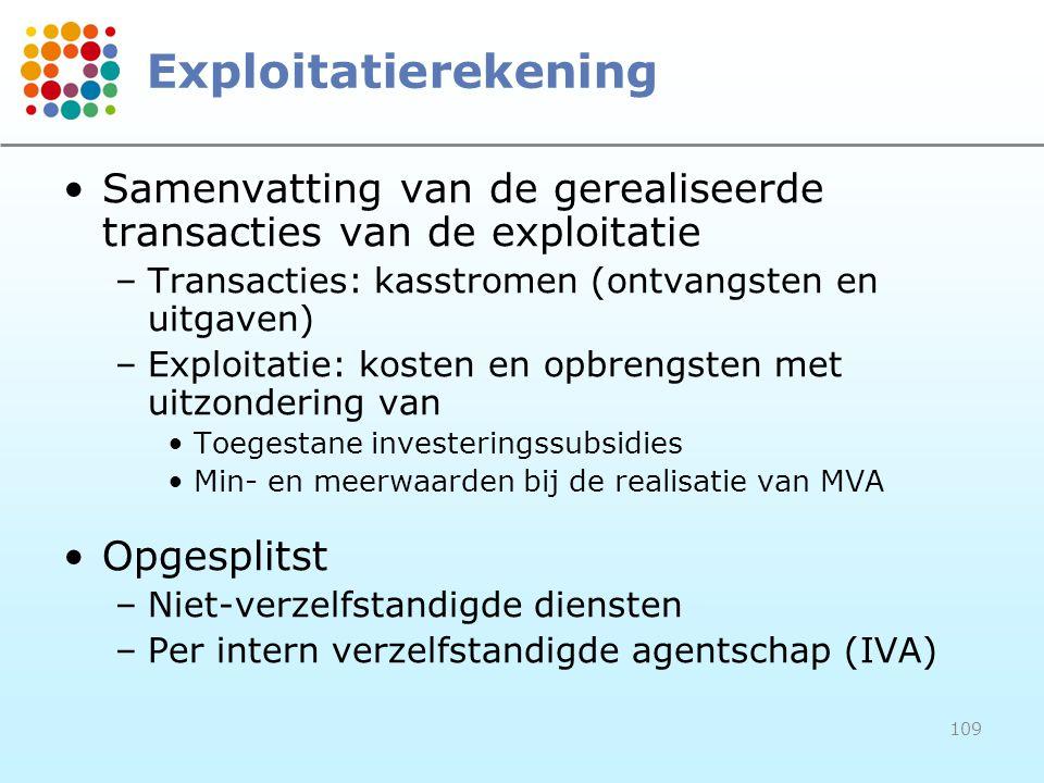 109 Exploitatierekening Samenvatting van de gerealiseerde transacties van de exploitatie –Transacties: kasstromen (ontvangsten en uitgaven) –Exploitatie: kosten en opbrengsten met uitzondering van Toegestane investeringssubsidies Min- en meerwaarden bij de realisatie van MVA Opgesplitst –Niet-verzelfstandigde diensten –Per intern verzelfstandigde agentschap (IVA)