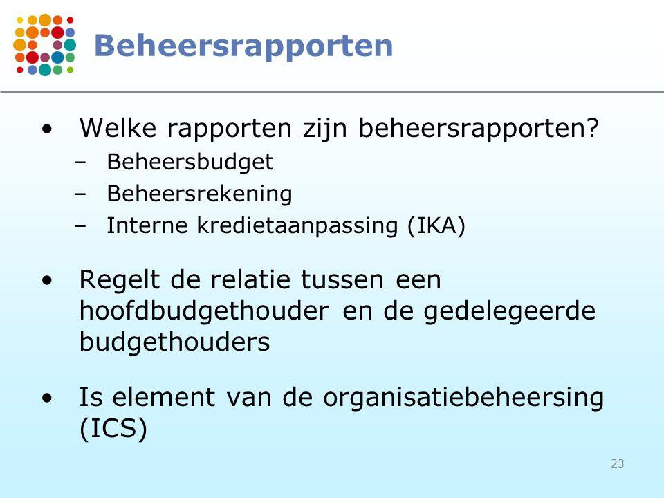 23 Beheersrapporten Welke rapporten zijn beheersrapporten? –Beheersbudget –Beheersrekening –Interne kredietaanpassing (IKA) Regelt de relatie tussen e