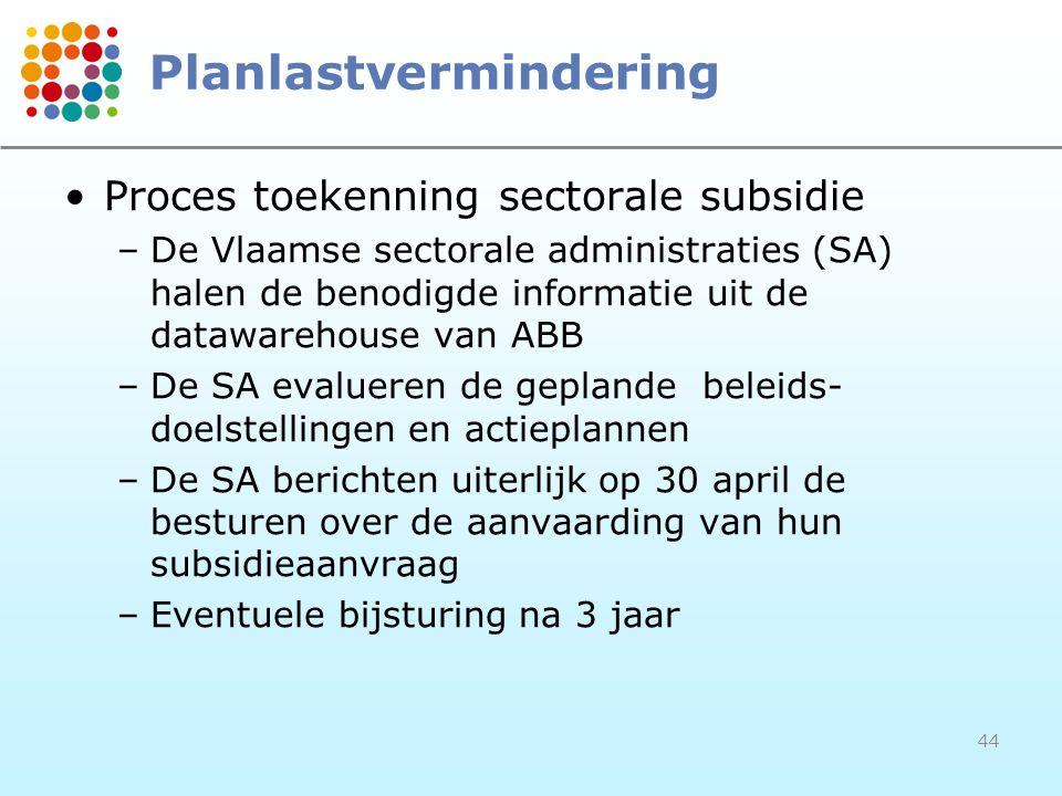 44 Planlastvermindering Proces toekenning sectorale subsidie –De Vlaamse sectorale administraties (SA) halen de benodigde informatie uit de datawarehouse van ABB –De SA evalueren de geplande beleids- doelstellingen en actieplannen –De SA berichten uiterlijk op 30 april de besturen over de aanvaarding van hun subsidieaanvraag –Eventuele bijsturing na 3 jaar