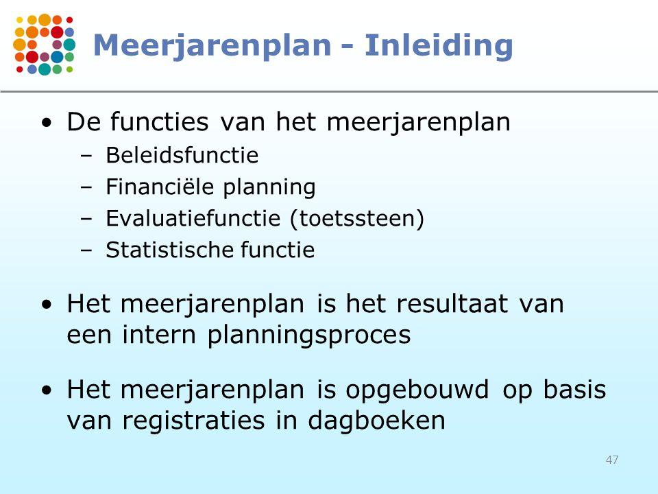 47 Meerjarenplan - Inleiding De functies van het meerjarenplan –Beleidsfunctie –Financiële planning –Evaluatiefunctie (toetssteen) –Statistische funct