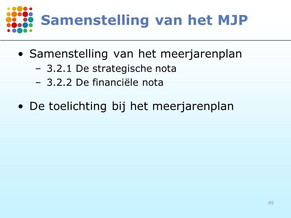 49 Samenstelling van het MJP Samenstelling van het meerjarenplan –3.2.1De strategische nota –3.2.2De financiële nota De toelichting bij het meerjarenplan