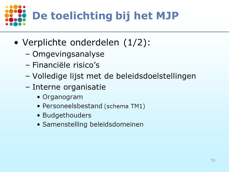 56 De toelichting bij het MJP Verplichte onderdelen (1/2): –Omgevingsanalyse –Financiële risico's –Volledige lijst met de beleidsdoelstellingen –Interne organisatie Organogram Personeelsbestand (schema TM1) Budgethouders Samenstelling beleidsdomeinen