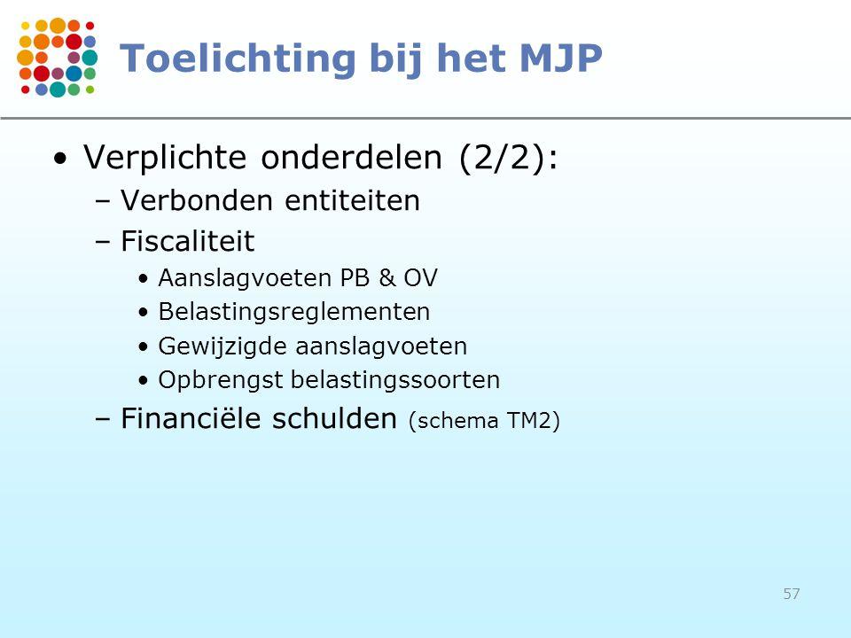 57 Toelichting bij het MJP Verplichte onderdelen (2/2): –Verbonden entiteiten –Fiscaliteit Aanslagvoeten PB & OV Belastingsreglementen Gewijzigde aanslagvoeten Opbrengst belastingssoorten –Financiële schulden (schema TM2)