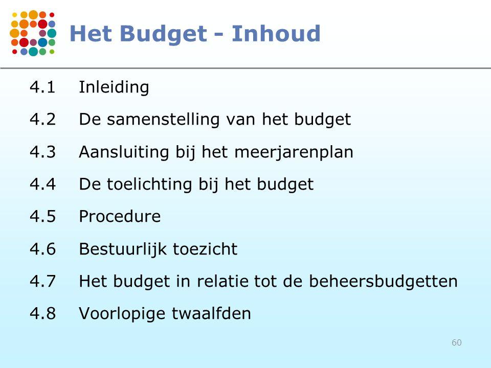60 Het Budget - Inhoud 4.1Inleiding 4.2De samenstelling van het budget 4.3Aansluiting bij het meerjarenplan 4.4De toelichting bij het budget 4.5Procedure 4.6Bestuurlijk toezicht 4.7Het budget in relatie tot de beheersbudgetten 4.8Voorlopige twaalfden