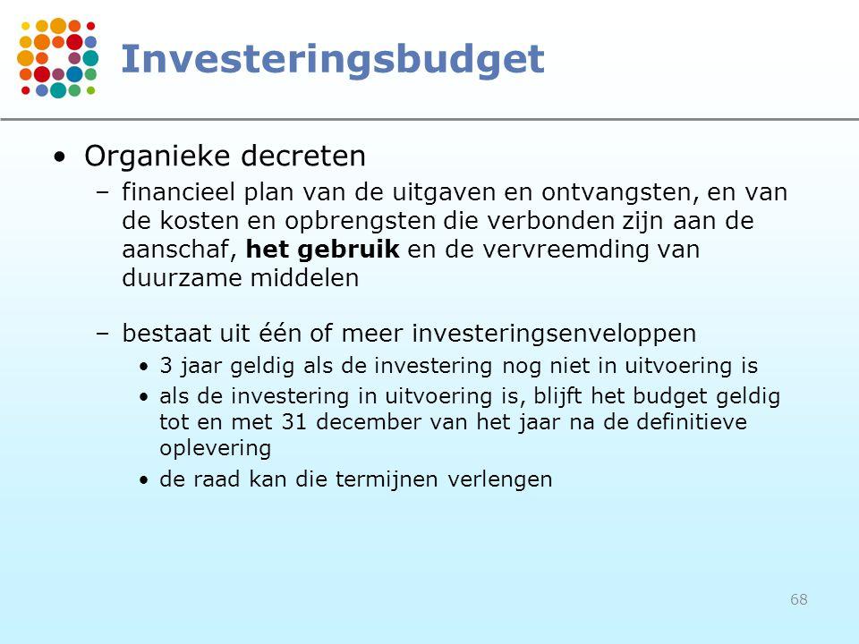 68 Investeringsbudget Organieke decreten –financieel plan van de uitgaven en ontvangsten, en van de kosten en opbrengsten die verbonden zijn aan de aanschaf, het gebruik en de vervreemding van duurzame middelen –bestaat uit één of meer investeringsenveloppen 3 jaar geldig als de investering nog niet in uitvoering is als de investering in uitvoering is, blijft het budget geldig tot en met 31 december van het jaar na de definitieve oplevering de raad kan die termijnen verlengen