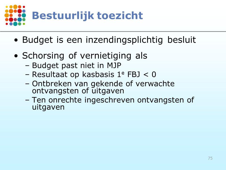 75 Bestuurlijk toezicht Budget is een inzendingsplichtig besluit Schorsing of vernietiging als –Budget past niet in MJP –Resultaat op kasbasis 1 e FBJ