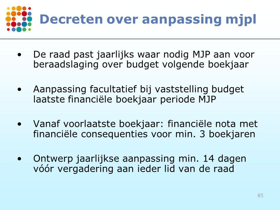 85 Decreten over aanpassing mjpl De raad past jaarlijks waar nodig MJP aan voor beraadslaging over budget volgende boekjaar Aanpassing facultatief bij