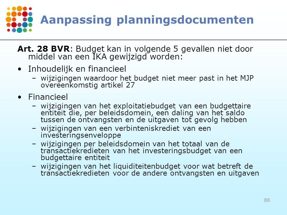 88 Aanpassing planningsdocumenten Art. 28 BVR: Budget kan in volgende 5 gevallen niet door middel van een IKA gewijzigd worden: Inhoudelijk en financi