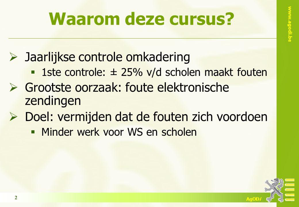 www.agodi.be AgODi Waarom deze cursus?  Jaarlijkse controle omkadering  1ste controle: ± 25% v/d scholen maakt fouten  Grootste oorzaak: foute elek