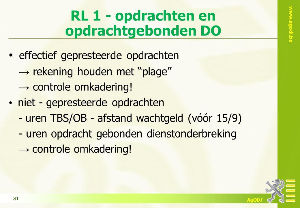 www.agodi.be AgODi RL 1 - opdrachten en opdrachtgebonden DO effectief gepresteerde opdrachten → rekening houden met plage → controle omkadering.