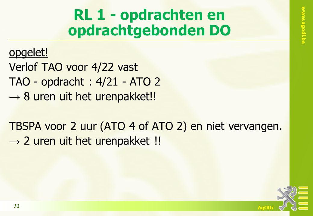 www.agodi.be AgODi RL 1 - opdrachten en opdrachtgebonden DO opgelet! Verlof TAO voor 4/22 vast TAO - opdracht : 4/21 - ATO 2 → 8 uren uit het urenpakk