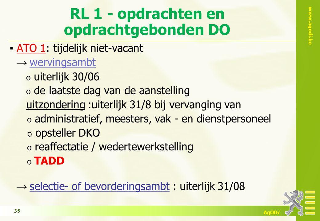 www.agodi.be AgODi RL 1 - opdrachten en opdrachtgebonden DO ▪ ATO 1: tijdelijk niet-vacant → wervingsambt o uiterlijk 30/06 o de laatste dag van de aa