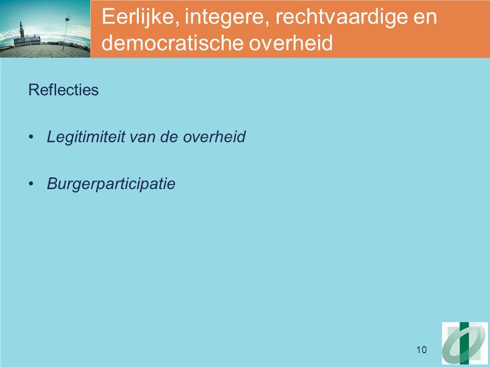 10 Eerlijke, integere, rechtvaardige en democratische overheid Reflecties Legitimiteit van de overheid Burgerparticipatie