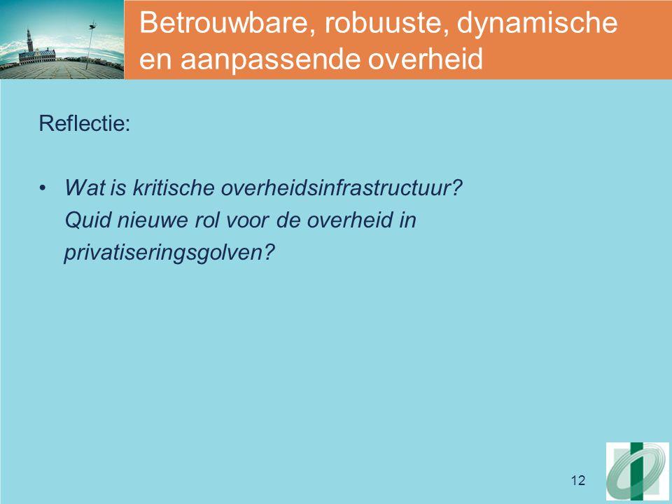 12 Betrouwbare, robuuste, dynamische en aanpassende overheid Reflectie: Wat is kritische overheidsinfrastructuur.