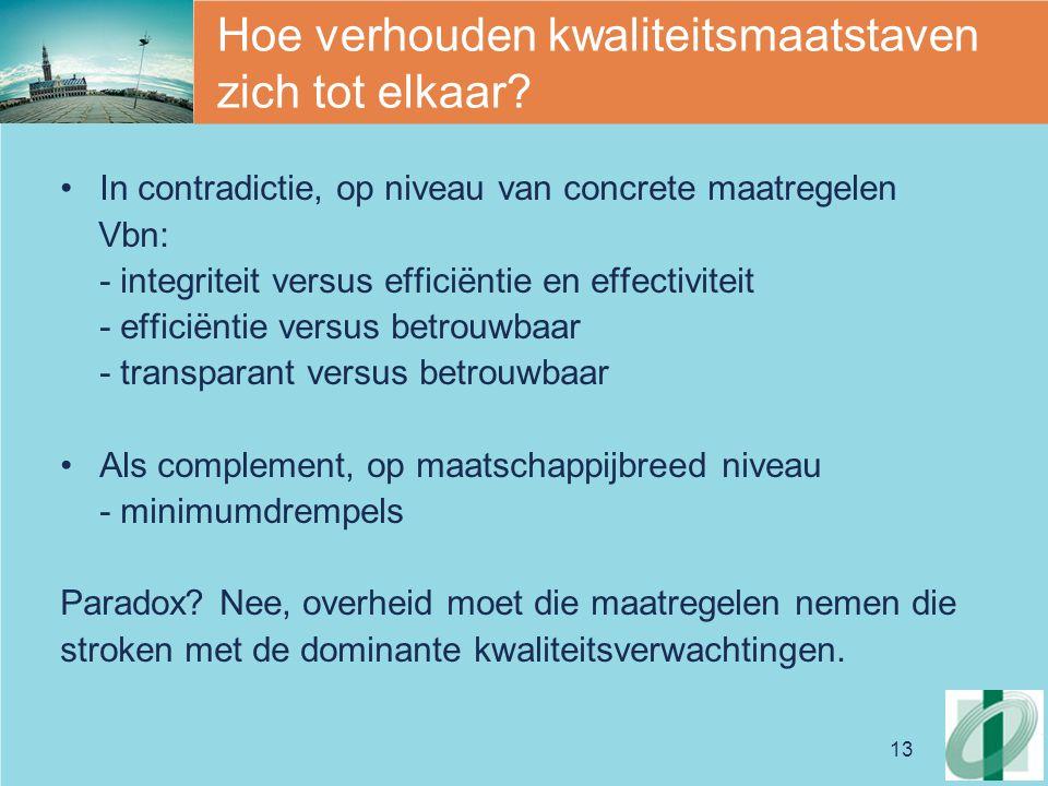13 Hoe verhouden kwaliteitsmaatstaven zich tot elkaar? In contradictie, op niveau van concrete maatregelen Vbn: - integriteit versus efficiëntie en ef