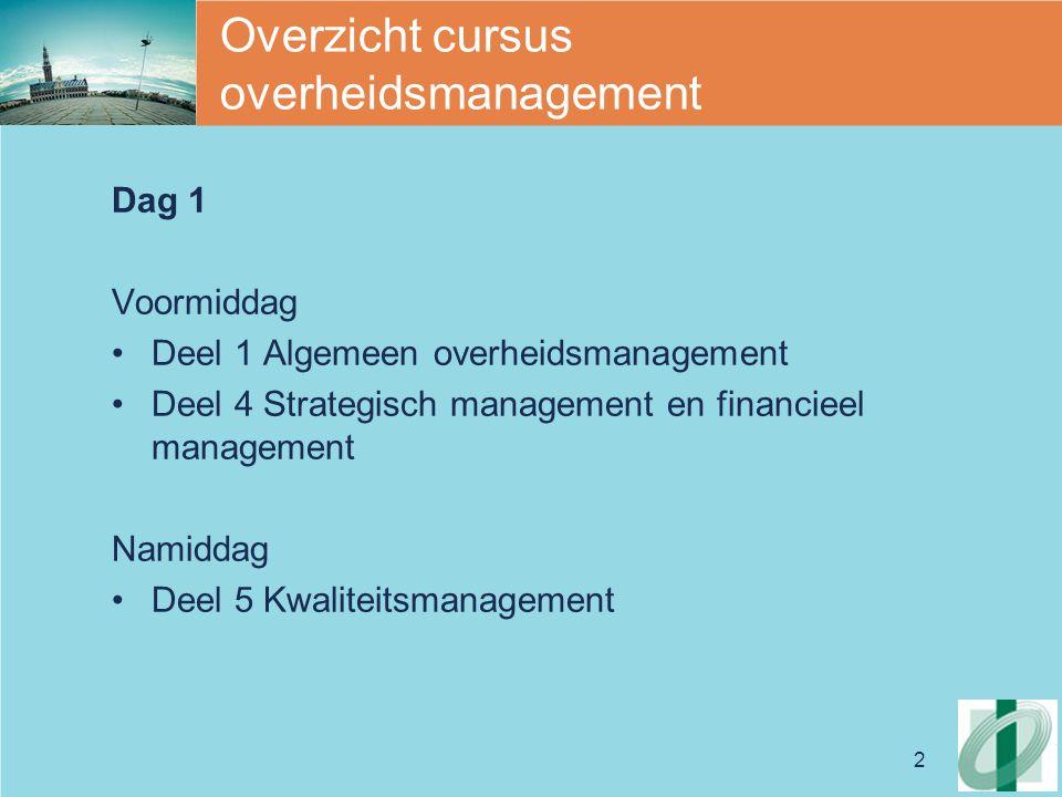 2 Overzicht cursus overheidsmanagement Dag 1 Voormiddag Deel 1 Algemeen overheidsmanagement Deel 4 Strategisch management en financieel management Namiddag Deel 5 Kwaliteitsmanagement