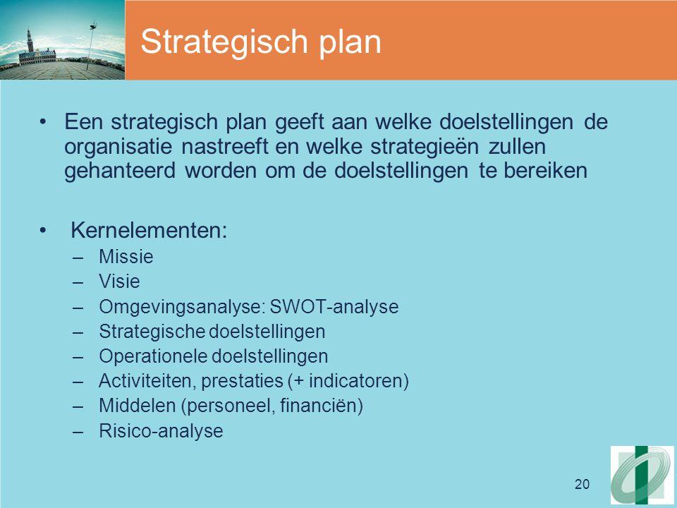 20 Strategisch plan Een strategisch plan geeft aan welke doelstellingen de organisatie nastreeft en welke strategieën zullen gehanteerd worden om de doelstellingen te bereiken Kernelementen: – Missie – Visie – Omgevingsanalyse: SWOT-analyse – Strategische doelstellingen – Operationele doelstellingen – Activiteiten, prestaties (+ indicatoren) – Middelen (personeel, financiën) – Risico-analyse
