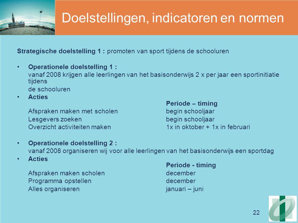 22 Doelstellingen, indicatoren en normen Strategische doelstelling 1 : promoten van sport tijdens de schooluren Operationele doelstelling 1 : vanaf 20