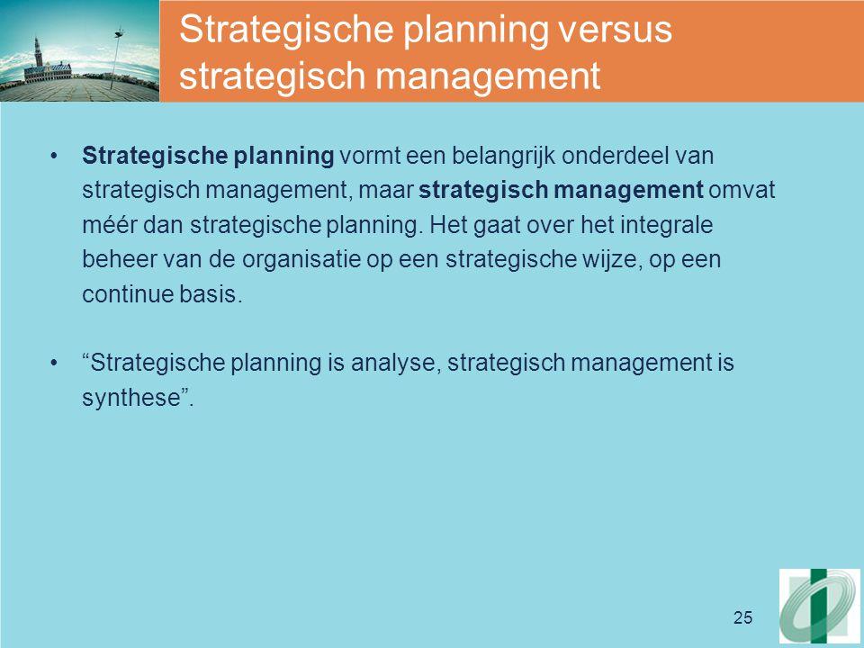25 Strategische planning versus strategisch management Strategische planning vormt een belangrijk onderdeel van strategisch management, maar strategisch management omvat méér dan strategische planning.