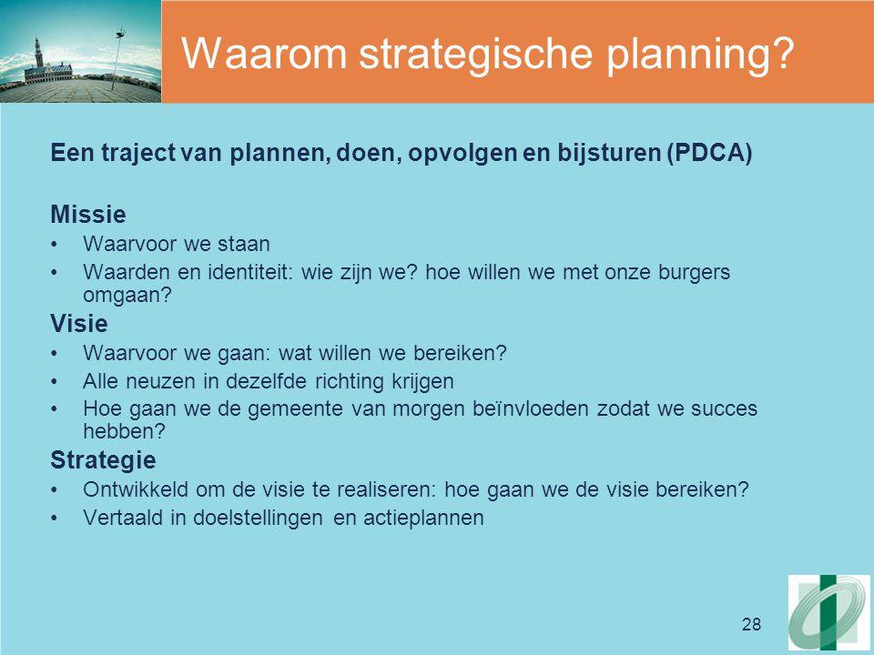 28 Waarom strategische planning? Een traject van plannen, doen, opvolgen en bijsturen (PDCA) Missie Waarvoor we staan Waarden en identiteit: wie zijn
