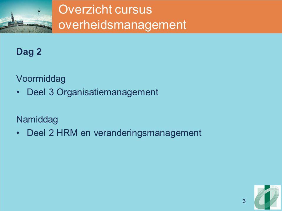 3 Overzicht cursus overheidsmanagement Dag 2 Voormiddag Deel 3 Organisatiemanagement Namiddag Deel 2 HRM en veranderingsmanagement