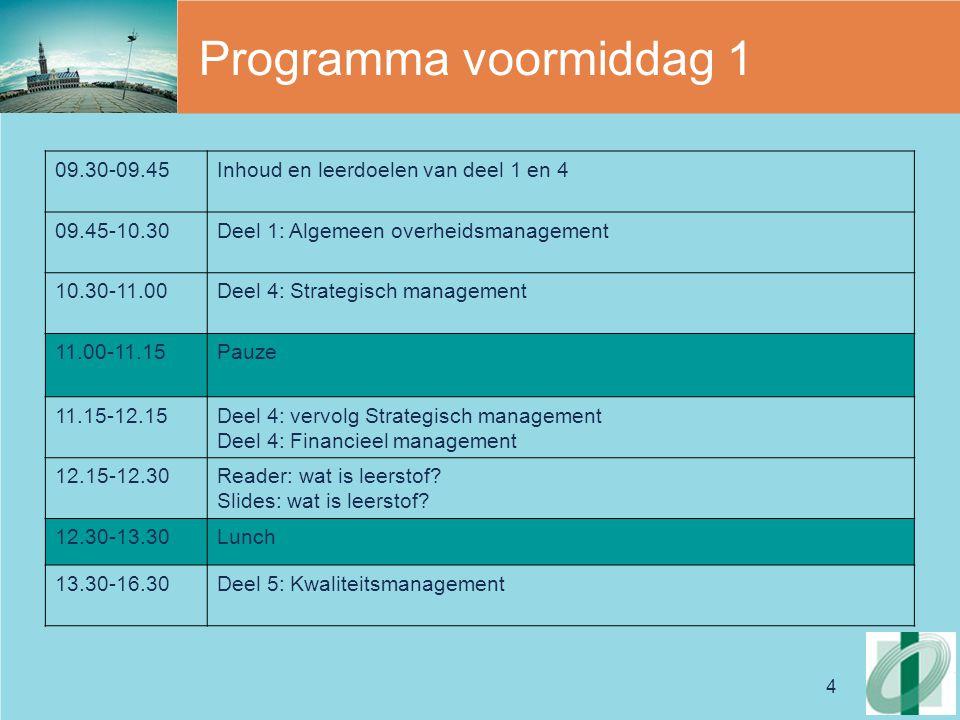 4 Programma voormiddag 1 09.30-09.45Inhoud en leerdoelen van deel 1 en 4 09.45-10.30Deel 1: Algemeen overheidsmanagement 10.30-11.00Deel 4: Strategisch management 11.00-11.15Pauze 11.15-12.15Deel 4: vervolg Strategisch management Deel 4: Financieel management 12.15-12.30Reader: wat is leerstof.