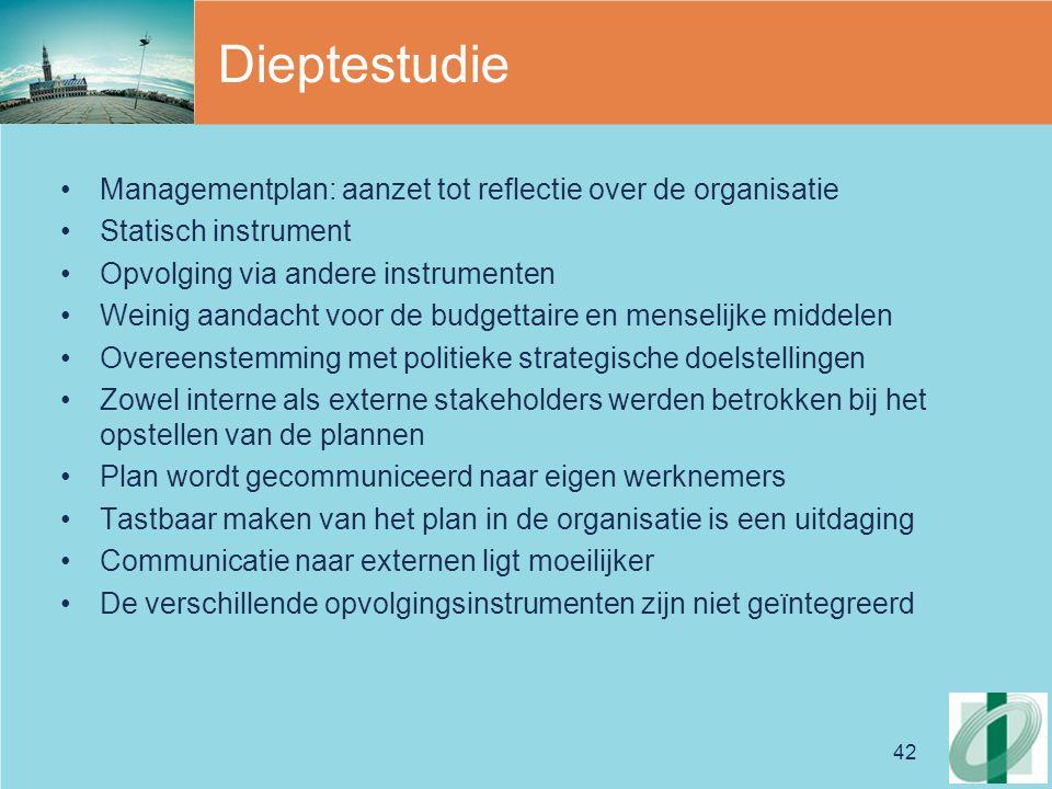 42 Dieptestudie Managementplan: aanzet tot reflectie over de organisatie Statisch instrument Opvolging via andere instrumenten Weinig aandacht voor de