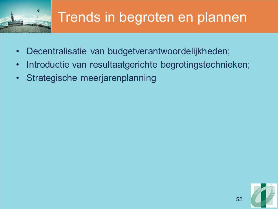 52 Trends in begroten en plannen Decentralisatie van budgetverantwoordelijkheden; Introductie van resultaatgerichte begrotingstechnieken; Strategische