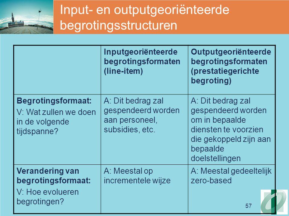 57 Input- en outputgeoriënteerde begrotingsstructuren Inputgeoriënteerde begrotingsformaten (line-item) Outputgeoriënteerde begrotingsformaten (presta