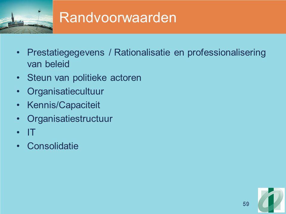 59 Randvoorwaarden Prestatiegegevens / Rationalisatie en professionalisering van beleid Steun van politieke actoren Organisatiecultuur Kennis/Capaciteit Organisatiestructuur IT Consolidatie
