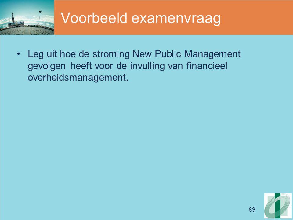 63 Voorbeeld examenvraag Leg uit hoe de stroming New Public Management gevolgen heeft voor de invulling van financieel overheidsmanagement.