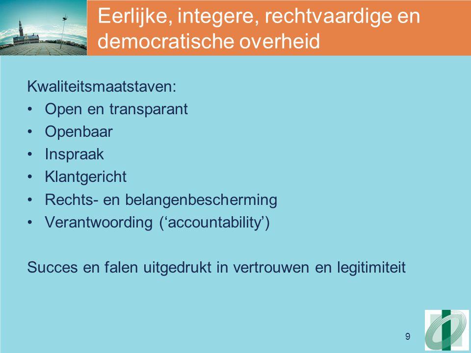 9 Eerlijke, integere, rechtvaardige en democratische overheid Kwaliteitsmaatstaven: Open en transparant Openbaar Inspraak Klantgericht Rechts- en belangenbescherming Verantwoording ('accountability') Succes en falen uitgedrukt in vertrouwen en legitimiteit