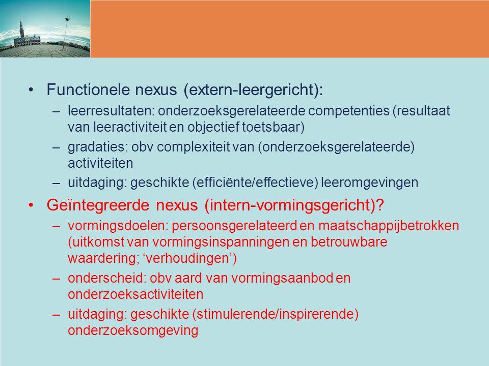 Functionele nexus (extern-leergericht): –leerresultaten: onderzoeksgerelateerde competenties (resultaat van leeractiviteit en objectief toetsbaar) –gr