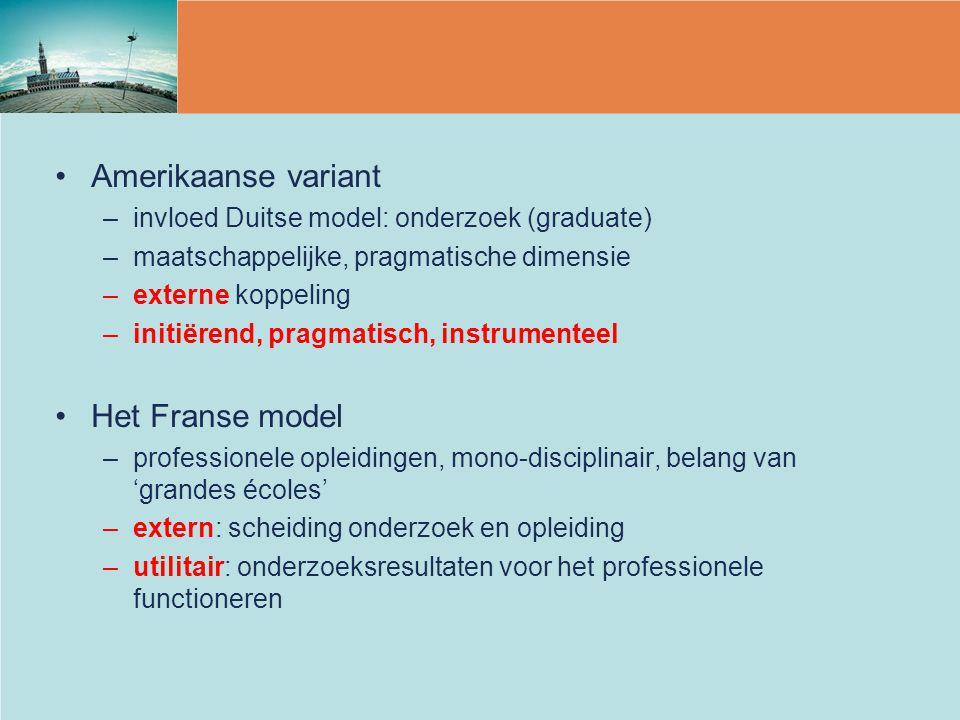 Amerikaanse variant –invloed Duitse model: onderzoek (graduate) –maatschappelijke, pragmatische dimensie –externe koppeling –initiërend, pragmatisch,