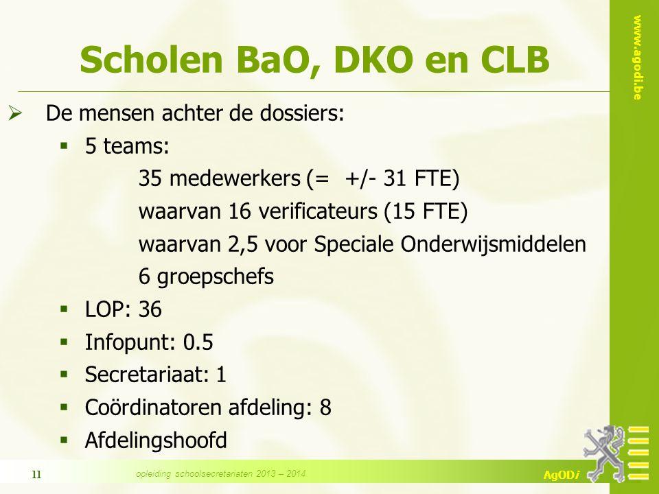 www.agodi.be AgODi 11 Scholen BaO, DKO en CLB  De mensen achter de dossiers:  5 teams: 35 medewerkers (= +/- 31 FTE) waarvan 16 verificateurs (15 FT