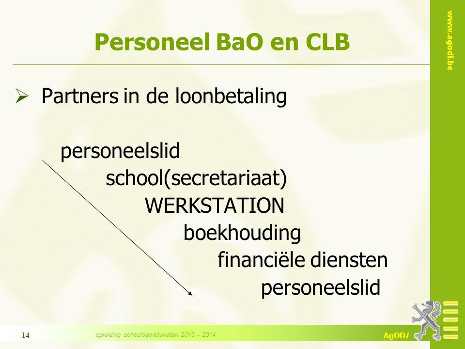 www.agodi.be AgODi 14 Personeel BaO en CLB  Partners in de loonbetaling personeelslid school(secretariaat) WERKSTATION boekhouding financiële dienste