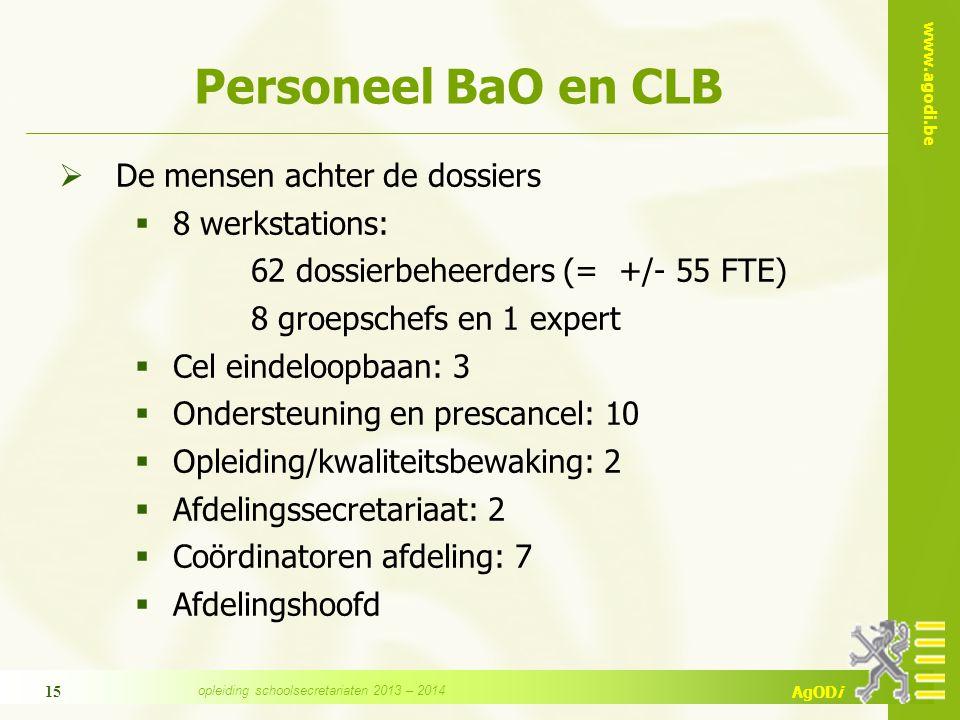 www.agodi.be AgODi 15 Personeel BaO en CLB  De mensen achter de dossiers  8 werkstations: 62 dossierbeheerders (= +/- 55 FTE) 8 groepschefs en 1 exp