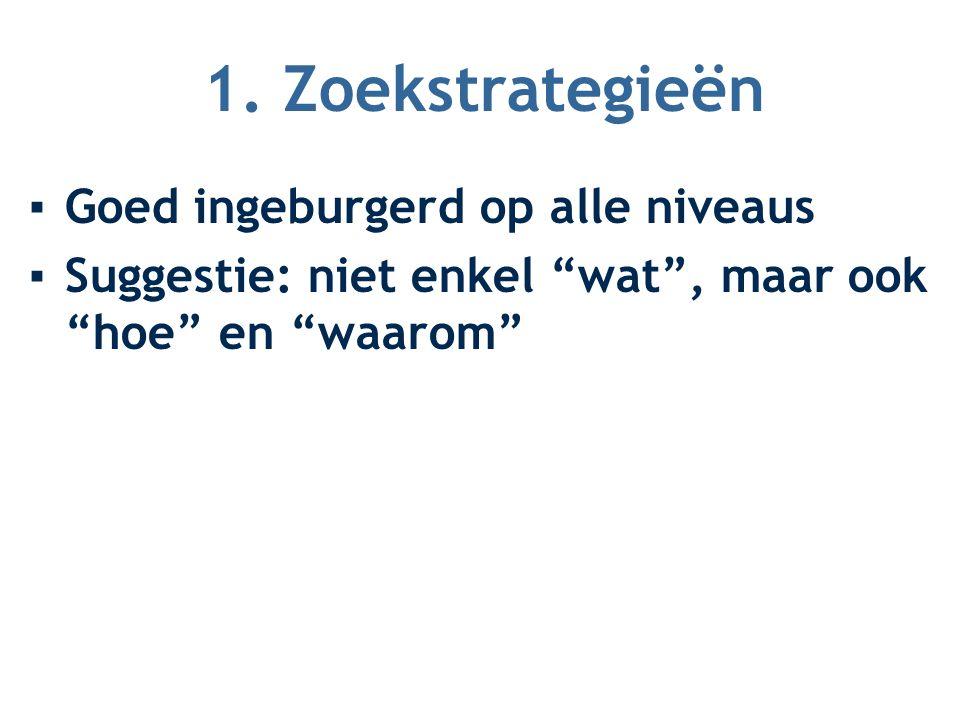 "1. Zoekstrategieën ▪Goed ingeburgerd op alle niveaus ▪Suggestie: niet enkel ""wat"", maar ook ""hoe"" en ""waarom"""